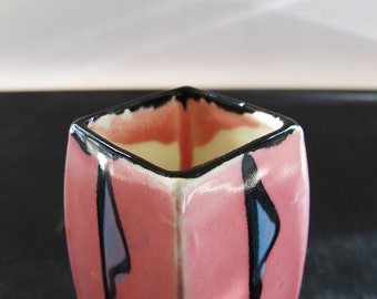 Art Deco Vase Pink Geometric Art Pottery 1920s