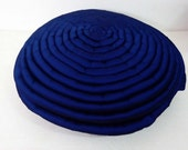 Reserved for DIANE KISZONAS -Ocean blue round pillow circle stripe filled cushion in size 16inches diameter with filler included