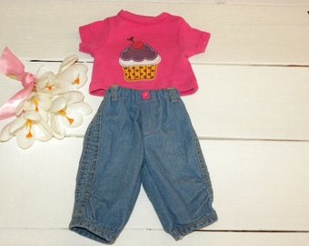 Hot Pink Tshirt and Blue Cotton Pants - 16 - 17 inch doll clothes