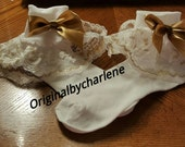 Boutique Custom Made OOAK Fancy Feet White accented with Gold Lace Ruffle Socks