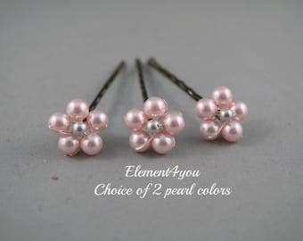 Bridesmaid Hair Clips, Wedding Hair Accessories, Pearl bobby clips, Flower girl clips, Set of 3 brown clips, Bridal hair do, Hair pins