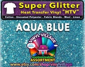 Aqua BLUE Super Glitter  HTV Heat transfer thermal press vinyl, T- Shirt film Great for Cheer Bows crafts or sign cutter Pick your size