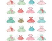 Printable  Little Girl Holiday Dresses stickers! - Digital File Instant Download-Christmas, vintage, retro, doll dress, paper doll, baby