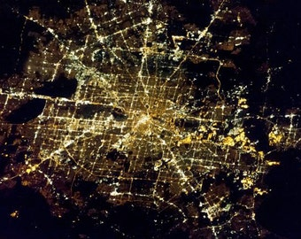 Houston Texas from Space City Lights Night Cities NASA ISS Earth View Photography Photo Print