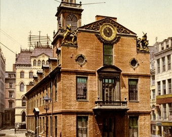 Old State House Boston Colonial American Revolution Historic Architecture Vintage City Victorian Photochrome Early Color Photography Print