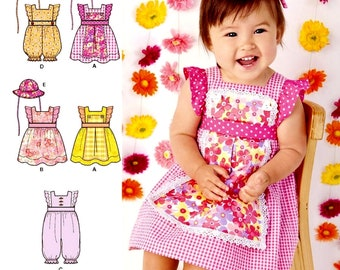 Toddlers' Dress Pattern, Baby Girls' Romper Pattern, Sz Nb to 18 mo, Simplicity 1470 sewing pattern