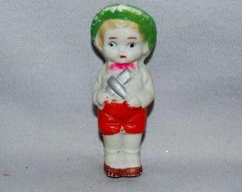Frozen Charlotte Bisque Penny Doll /  boy doll airplane  / vintage dolls