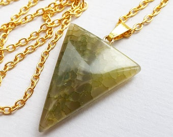 Olive Green Cracked Agate Triangle Necklace, Olive Green Necklace, Green Agate, Geometric Necklace, Quality Semi Matte Gold Plated Chain