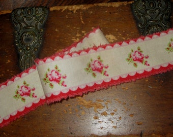 Red and Pink Rose Ticking Tattered Ribbon Valentines Day Love