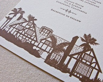 Hansen House Wedding Invitation, Letterpress printed SAMPLE