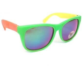 vintage 80s deadstock rubber wayfarer sunglasses sun glasses eyewear oversized retro neon fluorescent day glow green yellow orange revo 153