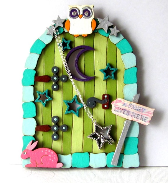 Fairy Door Necklace Tooth Fairy Pixie Door Necklace Fairy Necklace Hanger Necklace Organizer Painted Gnome Door for Fairies Jewelry