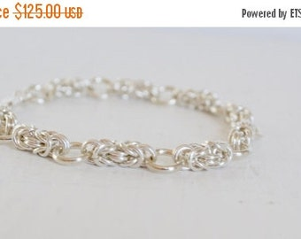 Holiday Sale - 25% off Sterling Silver Byzantine Link Bracelet : By BALOOS STUDIO