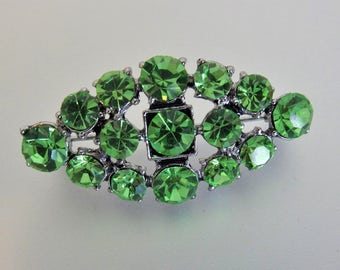 Pretty Vintage Green Rhinestone Brooch Pin