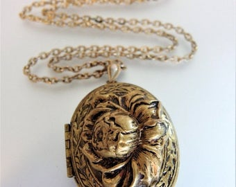 ON SALE Pretty Vintage Boho Raised Embossed Brass Locket Necklace