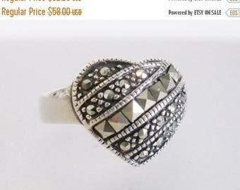 ON SALE ON Sale Sparkling Vintage Sterling & Marcasite Heart Ring