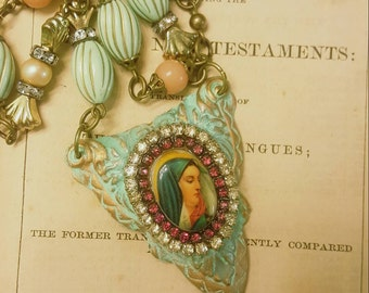 Vintage Devotional Religious Holy Mother Mary Catholic Assemblage Necklace Repurposed Altered Jewelry