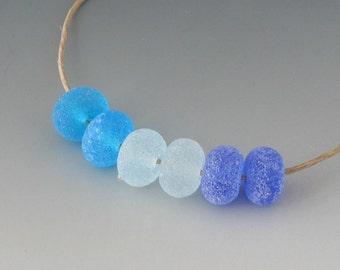 Rustic Gems- (6) Handmade Lampwork Beads - Blue, Aqua
