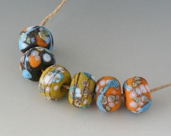 Rustic Sedona Nuggets- (6) Handmade Lampwork Beads -  Orange, Green, Black, Turquoise