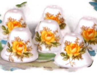 Vintage Glass Beads Bell Bells Limoges Floral Roses Flowers Porcelain NOS N584C
