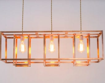 Industrial Chandelier - Copper Modern Farmhouse Lighting - LED and Incandescent Compatible - For Level or Vaulted Ceiling