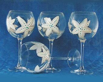 Starfish Wine Glasses, Set of 4 - Hand-Painted Starfish in Gray White and Aqua  - Nautical Beachy Red Wine Glass Beach House Hostess Gift