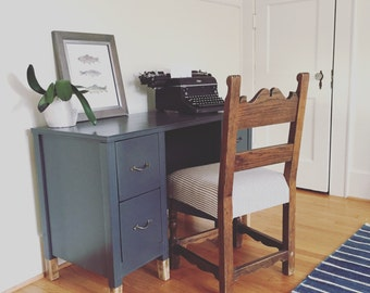 Antique Wooden Gray Desk with Brass Original Pulls and Dip-Dyed Natural Legs
