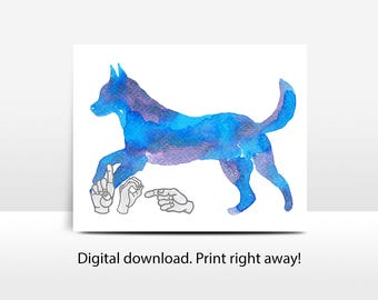 ASL Watercolor Dog: printable, nursery art, Deaf culture, sign language, jpg, pdf, png