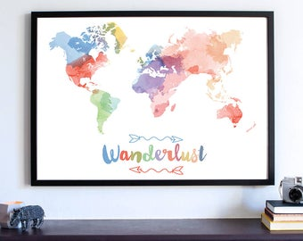 Watercolor world Map, Wanderlust world map, Pantone watercolor, World map print, Large world map, watercolor Art print, home decor  Fine Art