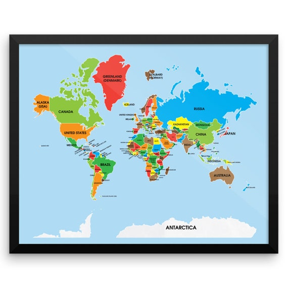 Colorful World Map Wall Art Print, Gifts for people who travel, Wall Art, map my travels, All the countries in the world, Travel Map