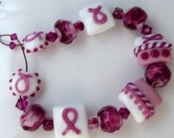 Destash Lampwork bead set breast cancer awareness pink heart plus earring beads