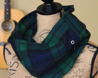 Navy & Green Plaid Flannel Pocket Scarf, Scarves with Pocket, Travel Scarf, Campus Gift for College Student (#9008)