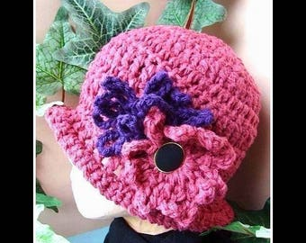 Hat crochet pattern, no 19, Magenta cloche hat with a flower. Adult size... Beginner. instant download