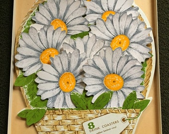 Vintage 60's Daisy Coaster Hostess Gift Set
