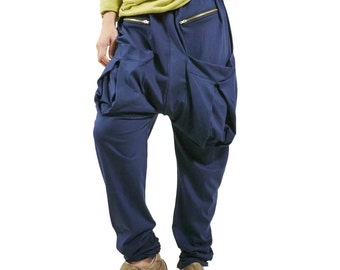 Men Women Funky Ninja Harem Dark Navy Blue Cotton Jersey Drop Crotch Pants With Patched & Zipped Pockets