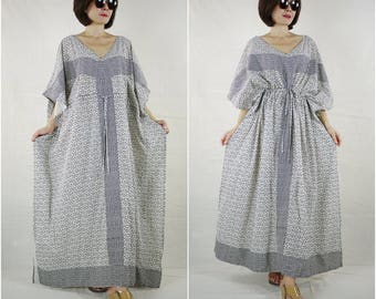 Short Sleeve Oversize V Neck Black Graphic Printed White Cotton Drawstring Waist Maxi Dress Kaftan Women Sun Dress