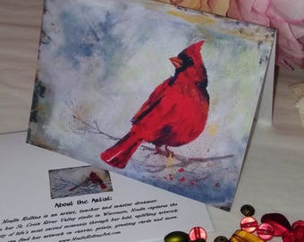 Red cardinal note card heaven sacred hellos red cardinal for Fathers Day birthday guy
