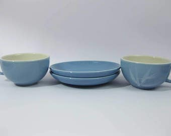 Winfield Blue Pacific China Tea Cup & Saucer Sets (2) Bamboo Pattern