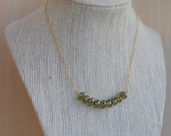 Tea Green  and Gold Bar Necklace