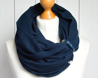 SPRING infinity scarf with leather strap, infinity scarves by ZOJANKA, nautical tube infinity scarf, mediumweight scarf,