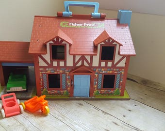 Vintage Fisher-Price Portable Playhouse, 1980s Toys, Little People House