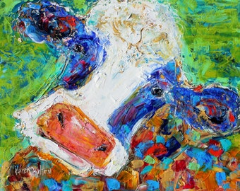 Colorful Cow Original oil painting abstract palette knife impressionism on canvas fine art by Karen Tarlton