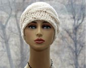 RESERVED FOR GAIL  Womens Cable style hat beanie knit chunky hat in cream color beanie