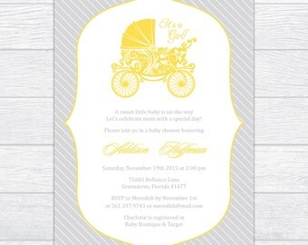 Elegant Carriage Baby Shower Invitation, Personalized Baby Shower Invite, Gender Neutral Baby Shower Invite Gender Reveal Baby Shower Invite