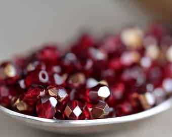 Ruby Czech Glass Beads, Fire Polished Faceted Round Beads, 4mm, Transparent Dark Ruby &  Bronze Half Coating (100pcs) NEW