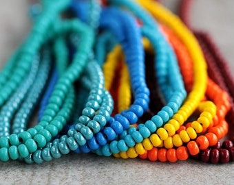 6/0 Turquoise, Yellow & Orange Seed Beads Mix, opaque seed beads, Rocaille seed bead mix, Preciosa seed beads,  4mm (70g) NEW