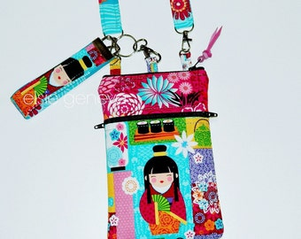 Japanese Dolls Phone Case Wristlet or Shoulder Strap - Kimono Cherry Blossom Bright Colorful Floral - Green Purple iPhone