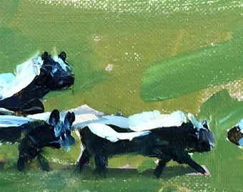 Skunk Family Original Oil Painting by Angela Moulton pre-order Frame Options