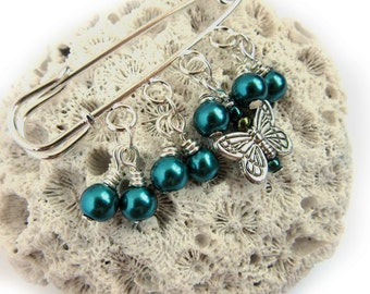 Blue Butterfly Pin - Scarf Pin - Sweater Pin - Blue Bead Brooch - Blue Pearl