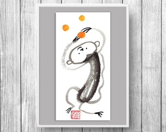 Monkey, Year of the Monkey Chinese Zodiac, Original Sumi e Zen Painting, zen decor, japan illustration, childs nursery room art,red envelope